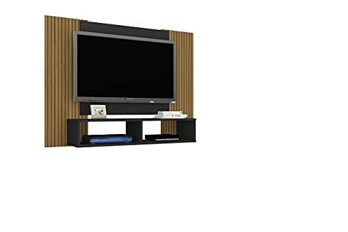 Painel para TV até 48 Pol. Navi Sala Preto Fosco/efeito Ripa
