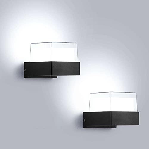 Lightess 2pcs 10W Apliques Pared Exterior Lámpara de Pared LED Luz Moderna Impermeable IP65 Iluminación de Aluminio y Acrílico para Jardín, Patio, Camino, Escalera, Balcón, Negro, 6000K Blanco Frío