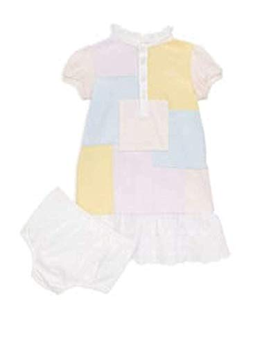 Ralph Lauren Baby Girls Color-Block Patchwork Cotton Dress and Bloom Set 3 Month Pink Multi