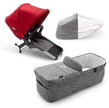 Bugaboo Donkey 3 Twin set de extensión a gemelar completo con capota roja, tejidos gris mélange y chasis aluminio - Te permite convertir tu Bugaboo Donkey 3 Mono en un carrito gemelar lado a lado