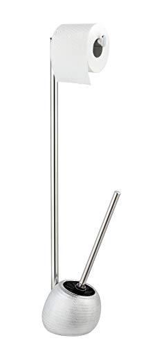 WENKO Stand WC-Garnitur Polaris Juwel - WC-Bürstenhalter, Keramik, 16 x 72,5 x 14,5 cm, silber