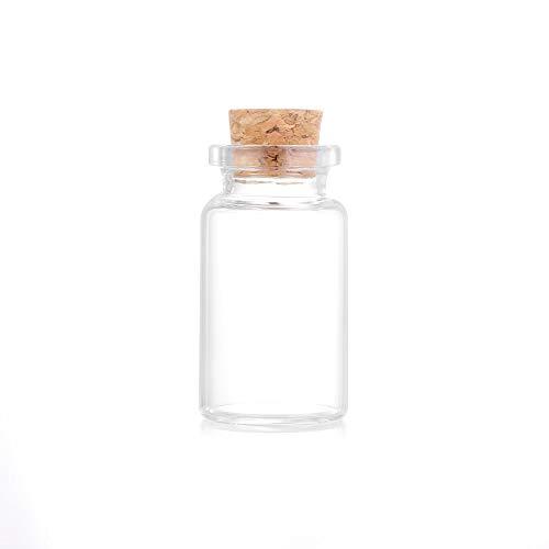 KUNHEV Botellas transparentes de cristal pequeño vacío, con tapón de corcho (8 ml-10 piezas)