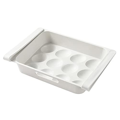 WHAIYAO Caja De Almacenamiento De Huevos para Frigorífico Colgante Tipo De Cajón Contenedores De Almacenamiento De Nevera Soporte De Estante, con Mango(Size:26x18x5CM,Color:Blanco)