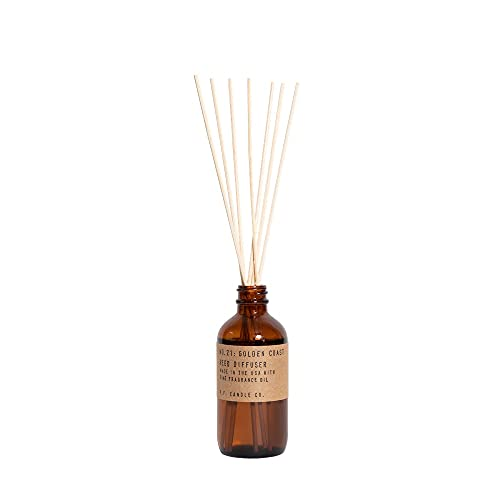 P.F. Candle Co. Golden Coast Classic Scented Rattan Reed Diffuser (3.5 fl oz) Amber Glass Jar, Fine Fragrance Oil, Low Maintenance Scent Throw