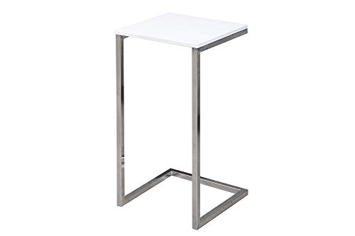DuNord Design Beistelltisch Couchtisch Comfort HIGH 60cm Holzoptik Weiss Silber Design
