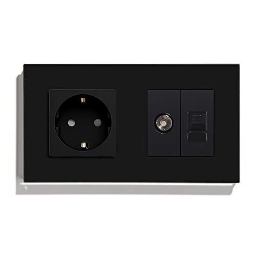 BSEED Enchufe de pared con 1/2 PC+ TV,Antena de TV coaxial y Ethernet RJ45 Cat5e,Panel de cristal Schuko Enchufe Negro toma Doble 16A a 250V enchufes de extensión 157mm