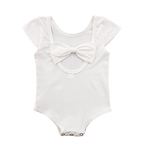 FURONGWANG6777BB Atrás Bowknot recién Nacido bebé niñas sólido Mameluco solsuit Trajes de Traje de Verano Casual Ropa de Traje de Verano (Color : White, Kid Size : 3M)