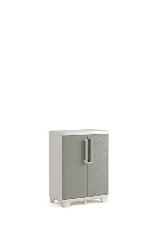 Keter Wood Grain - Armario bajo, 97 x 68 x 39 cm, color beige con puertas textura madera