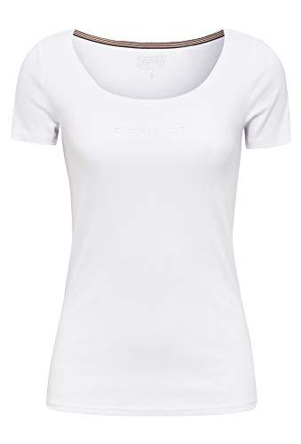 ESPRIT Damen 990EE1K306 T-Shirt, 100/WHITE, L