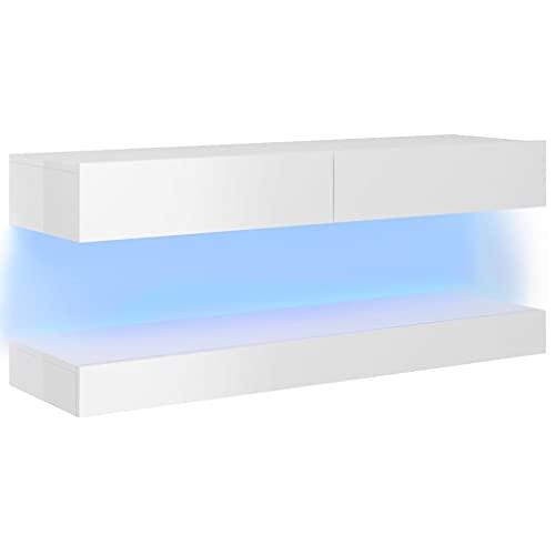 vidaXL Mueble para TV con Luces LED Soporte Armario Aparador Estante Salón Sala de Estar Decoración Entretenimiento Blanco Brillante 120x35 cm