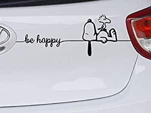 Generic Snoopy Woodstock Be Happy Aufkleber 2 teilig (schwarz)