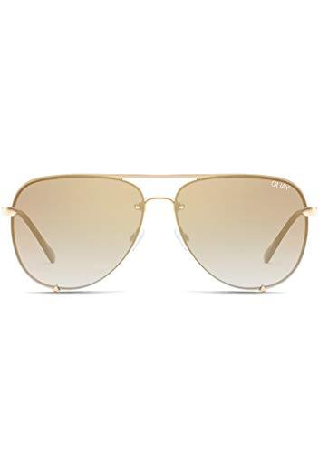 Quay Australia x Desi Perkins Women's High Key Rimless Aviator Sunglasses, Gold, One Size