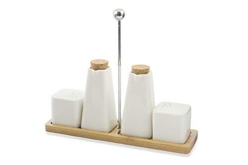 Villa d\'Este Home Tivoli 2420996 Gourmet Manage con Stand Bamboo Rettangolare, Porcellana, Bianco