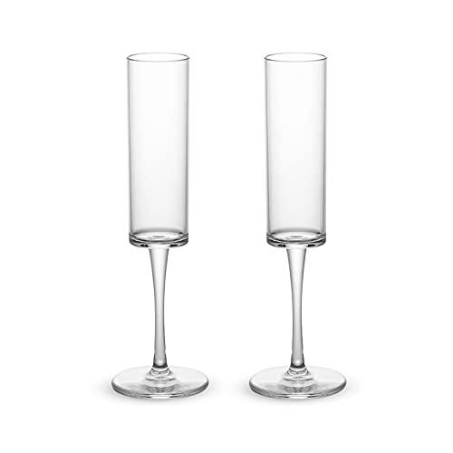 Hwtcjx calici champagne, bicchieri champagne, 2 flute champagne, Realizzato in plastica, sicuro, non tossico, riutilizzabile, facile da pulire, per ma
