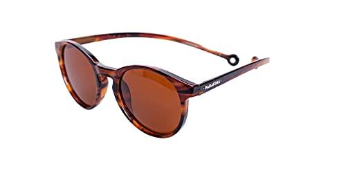 PARAFINA Isla Gafas de Sol para Mujer y Hombre, Protección UV400, Gafas Eco-Friendly Polarizadas, Resistentes al Agua y Ultra Ligeras, Montura Eco-friendly color Carey Ámbar y Lentes Marrones