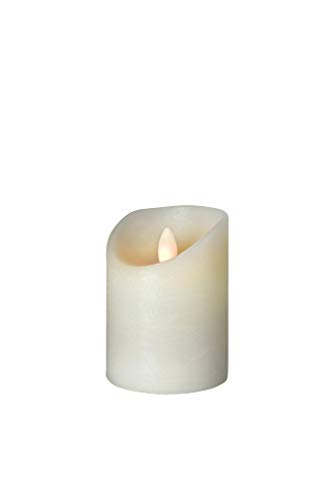 sompex Shine LED Kerze, Fernbedienbar, Timerfunktion, Multi LED Technik, Echtwachs, Ø 7,5 cm, Elfenbein Frost, Höhe:10 cm