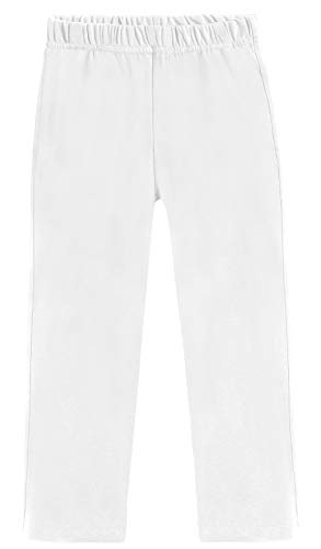 City Threads 100% Cotton Athletic Pants for Boys Sports Camps School Running Basketball Perfect for Sensitive Skin or SPD Clothing, White, 12