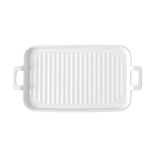 1 Piece Bakeware Creative Binaural Ceramic Baking Pan Baking Sheet White