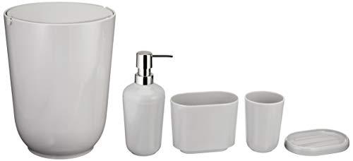 AmazonBasics 5 piezas - Juego de accesorios para cuarto de baño de bambú - Gris liso