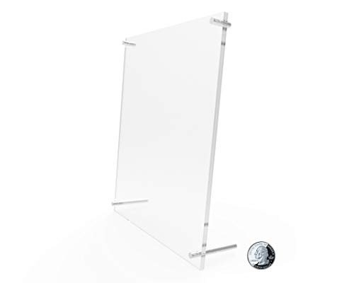 """FixtureDisplays 8 x 10""""Plexiglass Lucite Clear Acrylic Sign Holder with Standoff Hardware Acrylic Picture Frame 19009-One Rate"""