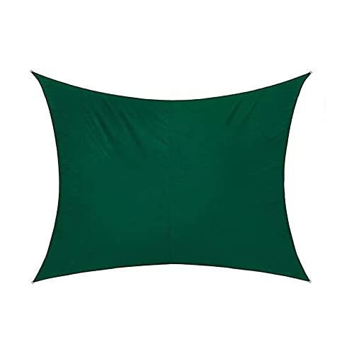 ASDASD Shade Net Rectángulo Sombrilla Vela Verde Oscuro, Toldo Impermeable Terraza Exterior Decoración de jardín Toldo de Piscina Lona de Malla (Color: Verde, Tamaño: 5 × 7 m)