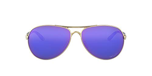Oakley Women's OO4079 Feedback Metal Aviator Sunglasses, Polished Gold/Violet Iridium Polarized, 59 mm