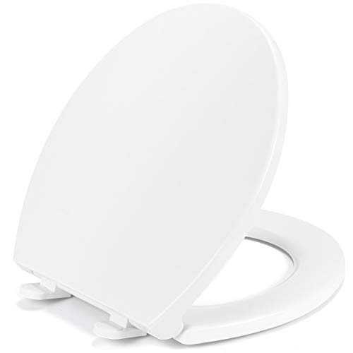 Round Toilet Seat Slow Quiet Close Seat Cover Fit Standard Round Toilet White Toilet Seat with Metal Inserts Easy to Install, Non-slip Seat with Rubber Bumpers Provides Comfort Relieves Pressure Point