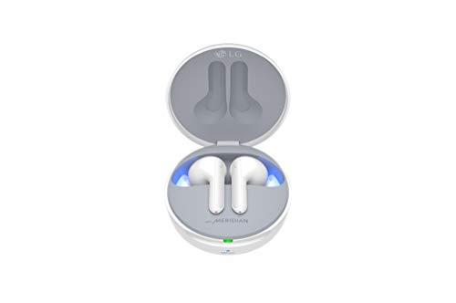 LG Tone Free HBS-FN7W - Auriculares True Wireless (cancelación Activa de Ruido, Sonido Meridian, Bluetooth 5.0, Estuche de Carga con Limpieza UVnano, Carga rápida y comandos de Voz Google) Blanco