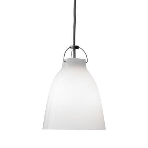 Unbekannt Shapes - Pendelleuchte - Caravaggio P1 opal weiß mit grauem Kabel Ø165mm - E27