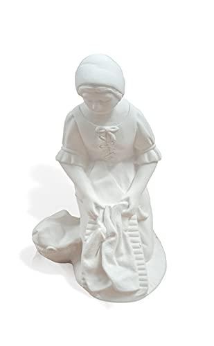 Lavandera Niña 12 cm. Alto. Diferentes Figuras para Belén de escayola. Estaturas Medias. Todas Las Profesiones para el Nacimiento. Ideal para complementar los Portales de Navidad (LAVANDERA NIÑA)