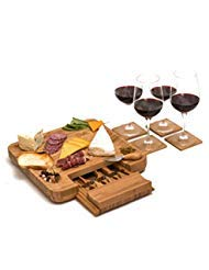 Bamboo Cheese Board Set with Cutlery and Wine Coasters (9-Piece Set) Serve Meat, Cheeses, Crackers   4 Stainless-Steel Cutting & Serving Knives   Slide-Out Drawer   Includes 4 Wine Coasters