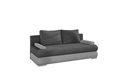 MOEBLO Sofa mit Schlaffunktion und Bettkasten, Couch für Wohnzimmer, Schlafsofa Federkern Sofagarnitur Polstersofa Wohnlandschaft mit Bettfunktion - Nestor (Dunkelgrau + Hellgrau (Soro 93 + Soro 83))