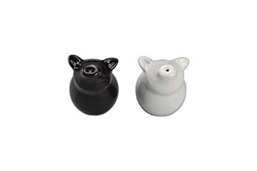 BIA Cordon Bleu Sitting Pig Salt and Pepper Shakers, Black and White