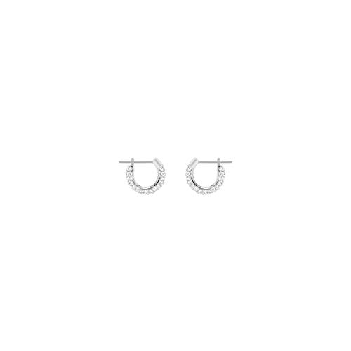 Swarovski Women's Stone Hoop Pierced Earrings, Set of Brilliant White Swarovski Crystal Hoop Earrings with Rhodium Plating