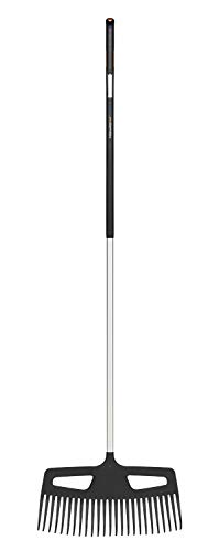 Fiskars Balai à gazon à dents très résistantes, Longueur : 176 cm, Largeur: 49 cm, Noir/Orange, Aluminium/Plastique, L, Xact, 1027037
