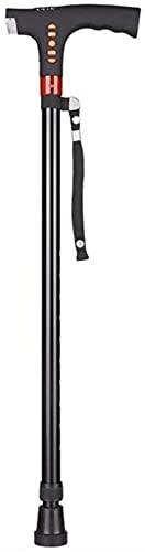 Bastón plegable para hombre viejo con función de cuatro pies con muletas telescópicas antideslizantes y ligeras, radio inteligente para ancianos ✅
