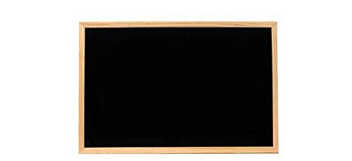 Pizarra Negra de Pared con borde de madera para Tiza o rotuladores efecto tiza. Pizarra para pintar o apuntar, fácil de limpiar. Varios tamaños. Incluye 2 argollas para colgarlo (50x70cm)