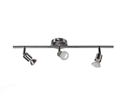 Sweet Led SW-18S Serie Plafonnier orientable avec spots de plafond mobiles, lampe de salon, plafonnier, métal, 230 V, GU10, IP20 (3 ampoules)