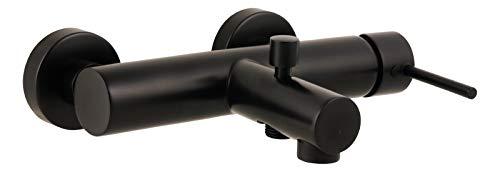 'aquaSu® Badewannenarmatur Lago 2.0 in schwarz mit Umsteller und Wasserspar-Funktion, Einhebelmischer für Wanne mit Stickgriff, aus Messing mit Keramikkartusche und Brauseanschluss, 78385 9