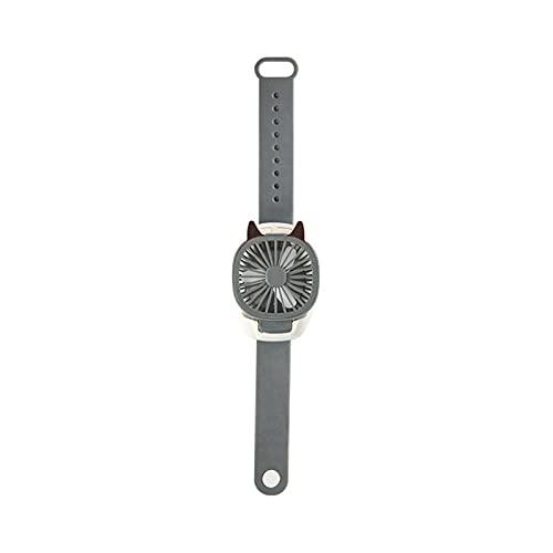 YLTPAJK Ventilador de Reloj USB, Reloj con Correa de Silicona de Grado alimenticio, Mini Ventilador USB con Ventilador a batería, 3 velocidades Ajustables, Ventilador Rosa para Viajes (Negro)