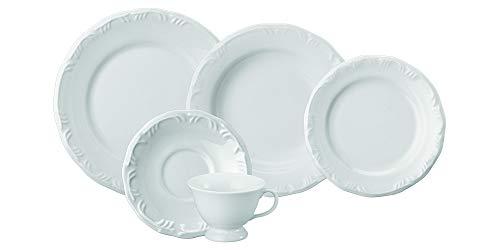 Serviço de Jantar e Chá 30 peças em Porcelana. Modelo Redondo com Relevo Pomerode. Branca. Fabricado pela Schmidt.