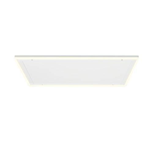 Klarstein Midnight Sun Decken – calefactor infrarrojo, iluminación LED decorativa, luces de color bánco cálido y blanco frío, no se recalienta, termostato, programable, 110,5 x 70,5 cm, 600 W, blanco