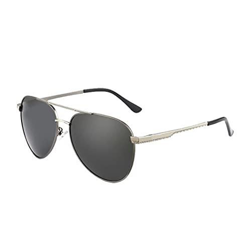 DovSnnx Unisex Polarizadas Gafas De Sol 100% Protección UV400 Sunglasses para Hombre Y Mujer Gafas De Aviador Gafas De Ciclismo Ultraligero Toad Espejo Pistola Marco Plateado Lente Gris