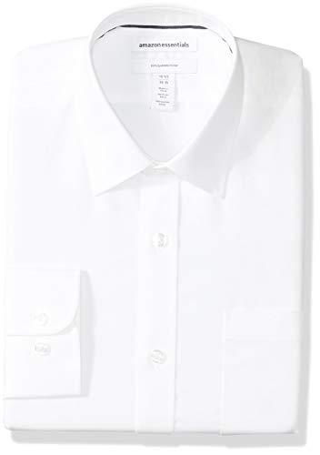 Amazon Essentials (アマゾン エッセンシャルズ) メンズ シャツ スリムフィット しわになりにくい 長袖 ドレスシャツ シャツ ホワイト 首回り42cm裄丈86-89cm