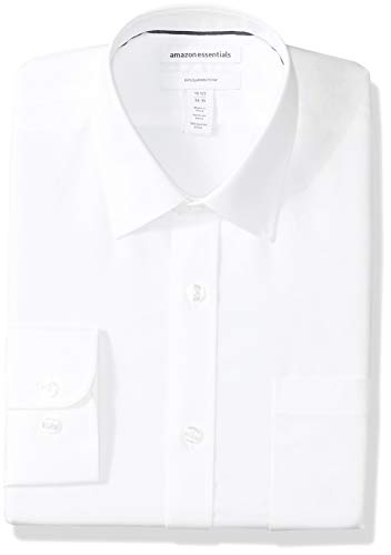"Amazon Essentials Men's Slim-Fit Wrinkle-Resistant Long-Sleeve Dress Shirt, White, 16.5"" Neck 34""-35"""
