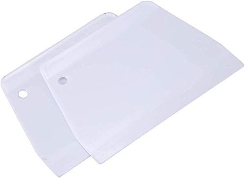 LuoCoCo 2 Piezas Rascador de Masa de Pan de Plástico, Espátula de Cocina con Forma de Escalera, Separador de Pan, Rasqueta para Decoración de Tartas para Cortar Masa Tarta Pasteles Pizza, Blanco