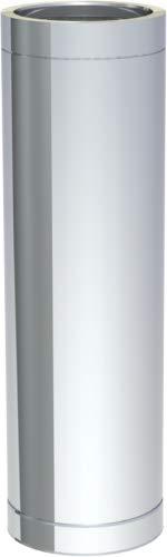 Edelstahlschornstein doppelwandig DN150 1000 mm Rohrelement Abgas Rohr 0,5 mm Kamin Rauchrohr