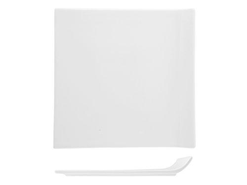 H&H Table Hotelware Plat Quadra Aile, Porcelaine, Blanc, 25 x 25 x 4 cm