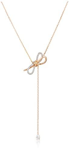 Swarovski Collier En Y Lifelong Bow, Blanc, Finition Mix de Métal