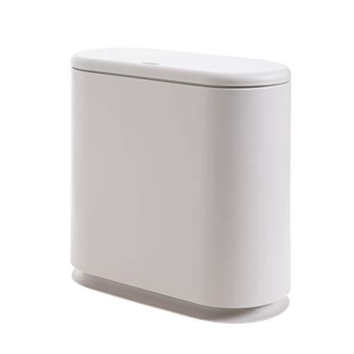 GWM Oval bedeckten Mülleimer, Hause Wohnzimmer schmale mülleimer küche kreative große länglich mülleimer weiß grau 8.5 (Farbe : A)